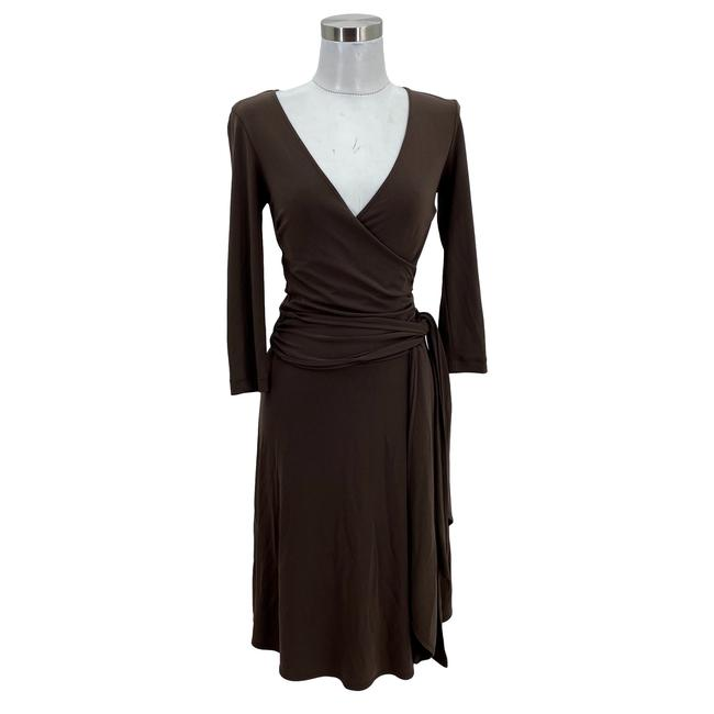 Item - Brown XS N149 Designer 2 Faux Wrap 3/4 Sleeves A-line Mid-length Short Casual Dress Size 0 (XS)