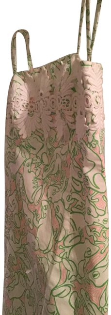Item - White Light Green Pink Pulizer Mid-length Cocktail Dress Size 10 (M)