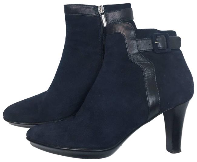 Item - Blue Suede Heeled Ankle Navy Black Boots/Booties Size US 10 Regular (M, B)
