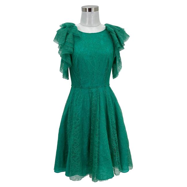 Item - Green N436 Bcbg Max Azria Small Lace Cynthia Cocktail Mid-length Formal Dress Size 4 (S)