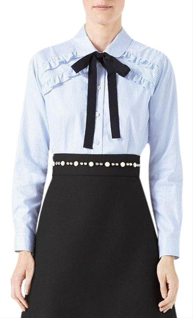 Item - Blue W Striped Oxford W/Tie Blouse Size 8 (M)