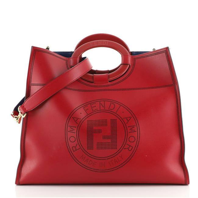 Item - Runaway Shopper Perforated Medium Red Leather Tote