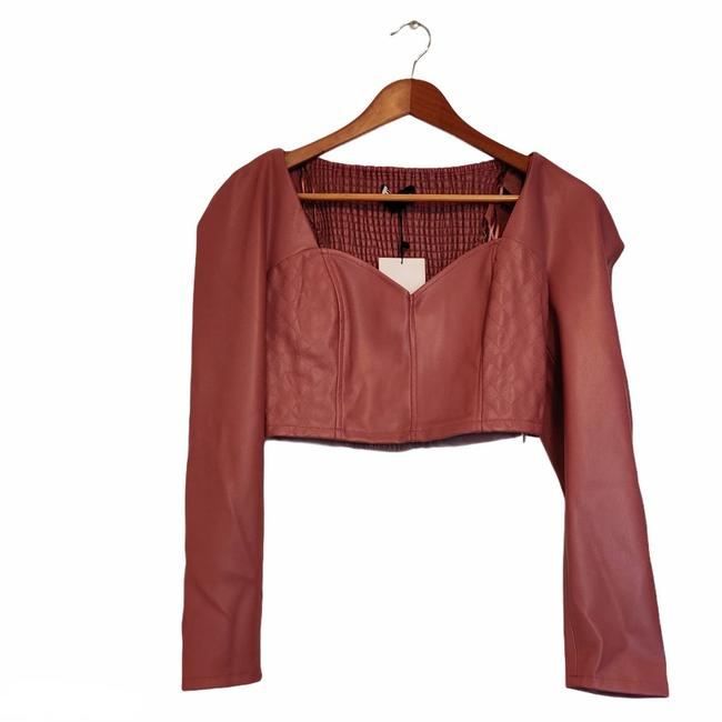 Item - Faux Leather Crop Marsala S Pink Top