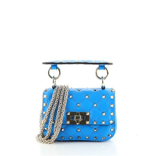 Item - Flap Rockstud Spike Quilted Micro Blue Leather Cross Body Bag