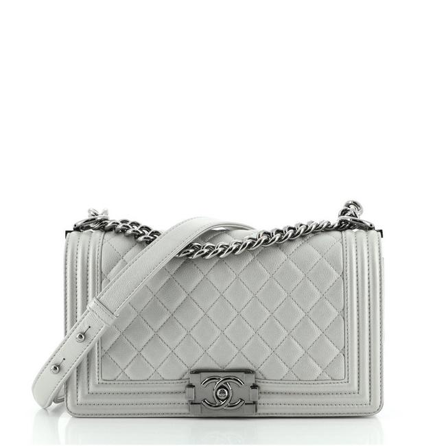 Item - Classic Flap Boy Quilted Goatskin Old Medium Silver Leather Cross Body Bag