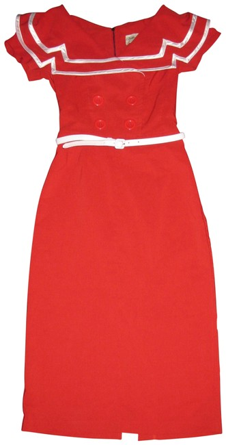Item - Red Vintage Inspired 1950s Pinup Sailor Captain Pencil Mid-length Work/Office Dress Size 4 (S)