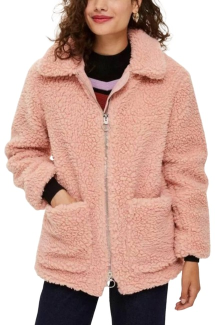 Item - Pink Blush Collared Zip Up Teddy Jacket Coat Size 6 (S)