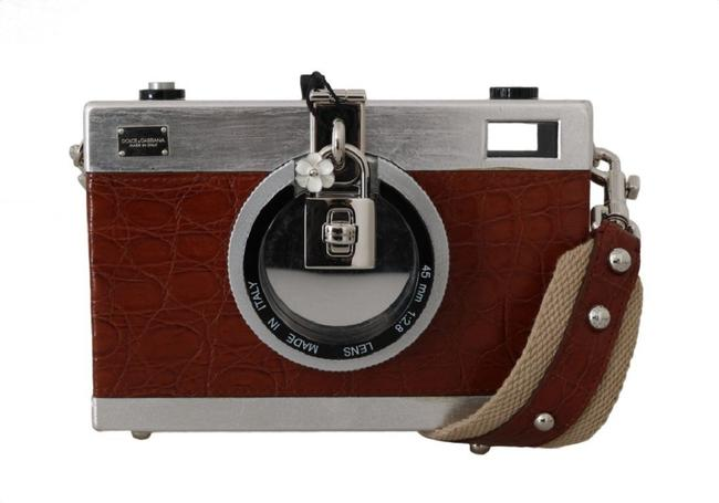 Item - Camera Case Crocodile Purse Brown and Silver Cotton Caiman Brass Wood Weekend/Travel Bag