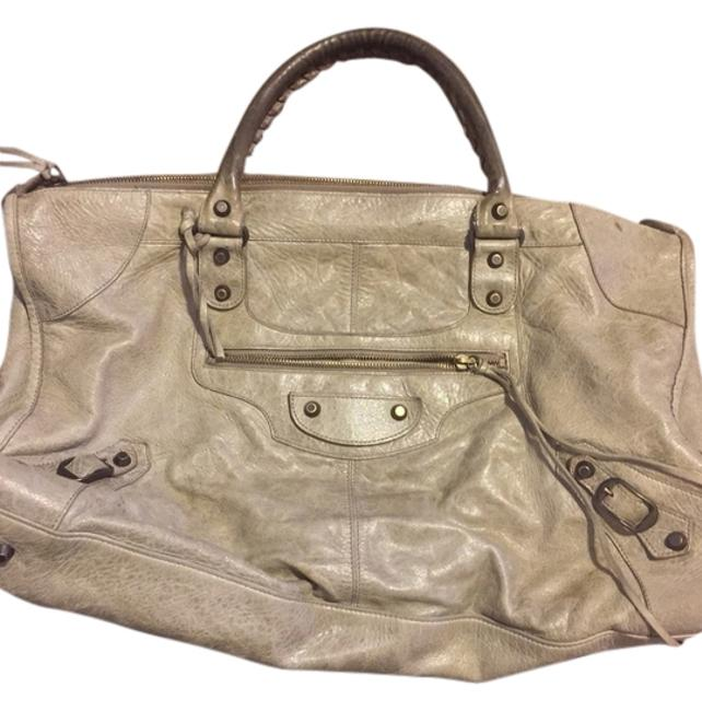 Item - Work Light Grey Lambskin Leather Weekend/Travel Bag