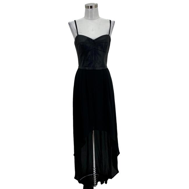 Item - Black N381 Small 6 Leandra Faux Leather Georgette High Low Mid-length Formal Dress Size 4 (S)