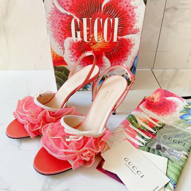 Item - Marmont Peach Pink Lace Ruffled Tulle Gg Sandals Size US 7 Regular (M, B)