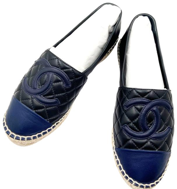 Item - Black Navy Leather Quilted Espadrilles Flats Size EU 37 (Approx. US 7) Regular (M, B)