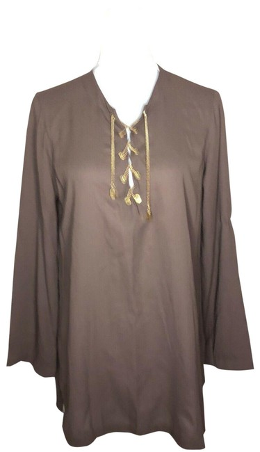 Item - Brown Womens Tunic Tunic Long Sleeve Round Neck Short Casual Dress Size 10 (M)