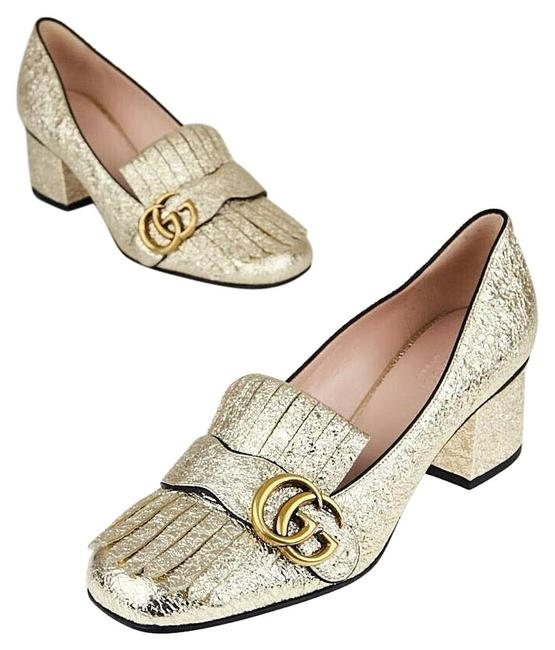 Item - Gold Marmont Textured Leather Mid Heel Loafers Pumps Size EU 35 (Approx. US 5) Regular (M, B)