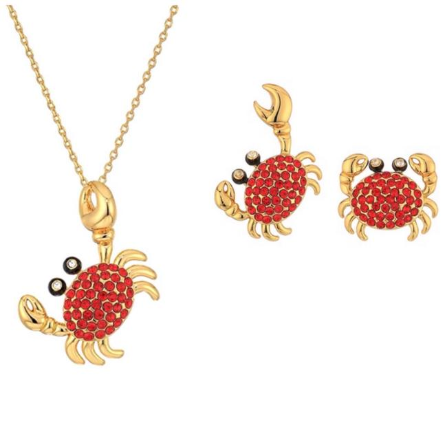 Item - Red/Gold • Shore Thing Pave Crab Set Necklace