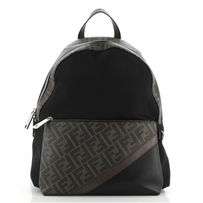 Item - Front Pocket with Zucca and Leather Black Brown Nylon Canvas Coated Backpack