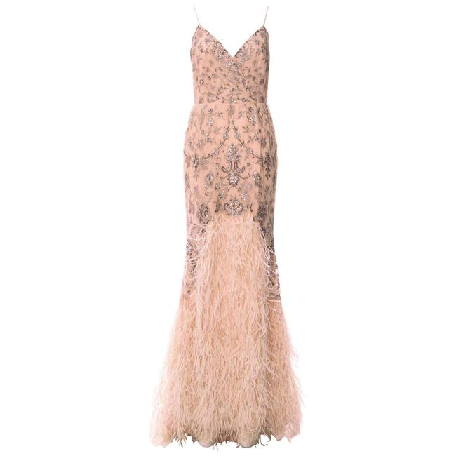 Item - Nude S/S 2012 Look #47 Embellished Gown with Feather Long Night Out Dress Size 8 (M)