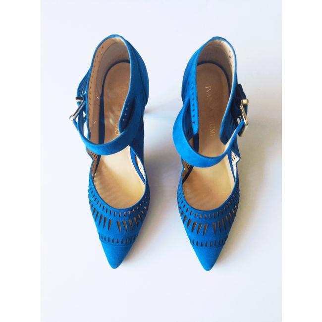 Item - Blue Laser Cutout Doval Suede Pointed Pumps Size US 7 Regular (M, B)