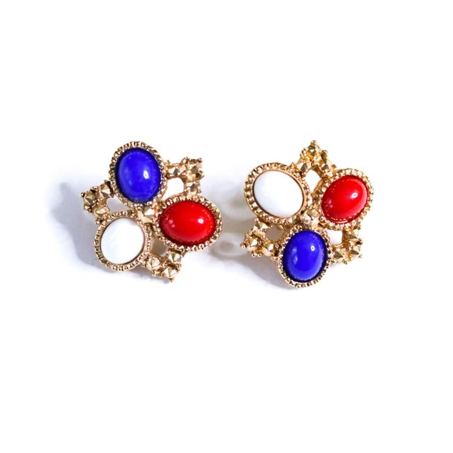 Item - Red White Blue Gold Vintage Americana And Earrings