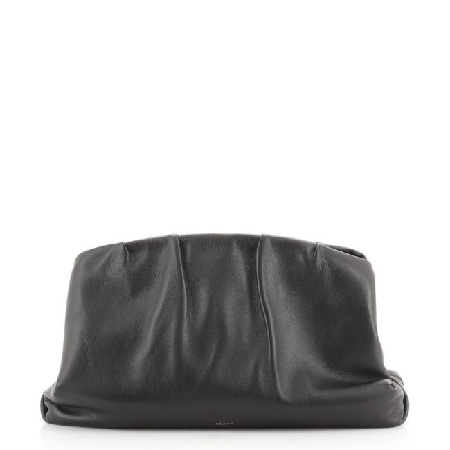 Item - Pleated French Black Leather Clutch