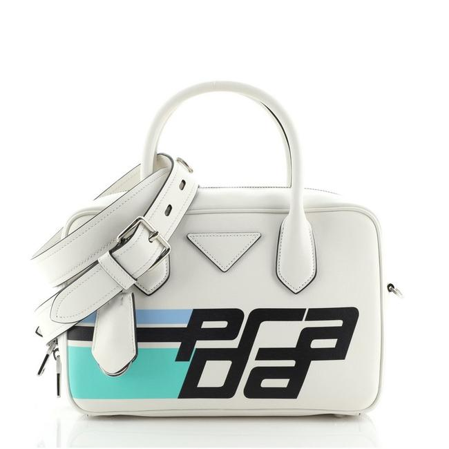 Item - Bauletto Printed City Calf Medium White Leather Satchel