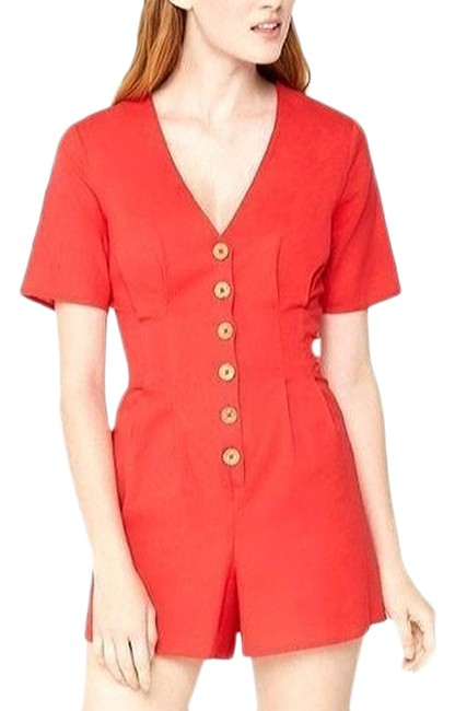 Item - Red Cherry Button Up Small Romper/Jumpsuit