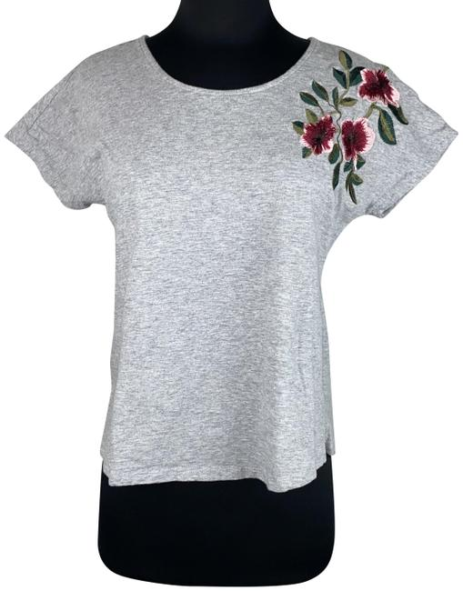 Item - Multicolor M Floral Embroidered Short-sleeve Cotton Tee Shirt Size 8 (M)
