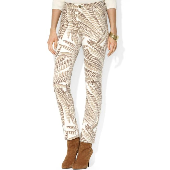 Item - Beige Velvet Feather-print Skinny Jeans Size 31 (6, M)