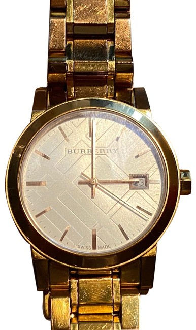 Item - Rose Gold White Check Pattern Dial Watch