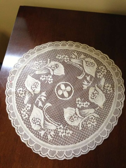 White Lace Callalily Table Topper Tablecloth