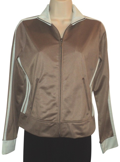 Item - Light Brown and Light Blue Front Zipped Track No Lining Jacket Size 6 (S)