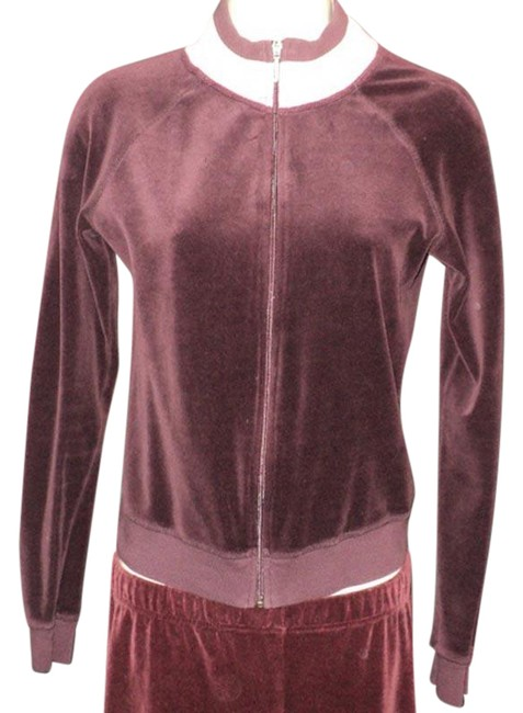 Item - Burgundy Velour Front Zipped Cotton Blend Activewear Outerwear Size 6 (S)