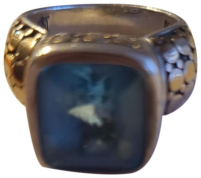 Item - Sterling Silver 18k Gold W Classic Dot Half Cable W/18k and Blue Topaz Ring