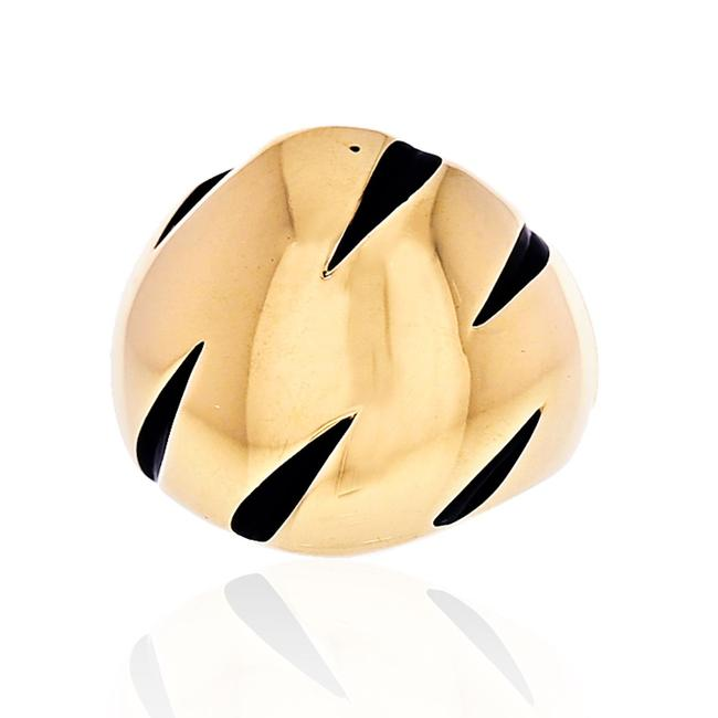 Item - 18k Yellow Gold Panthere Claw Black Lacquer Ring