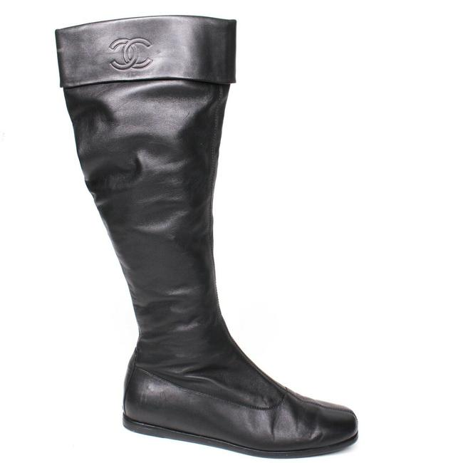 Item - Black Knee High Leather Pull On Cc Logo Cuff Zip Boots/Booties Size EU 37.5 (Approx. US 7.5) Regular (M, B)