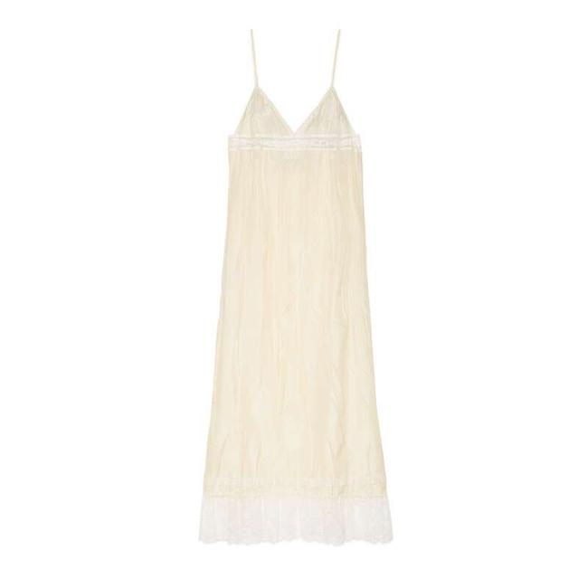 Item - White Silk with Lace Stripe Logo Mid-length Cocktail Dress Size 10 (M)