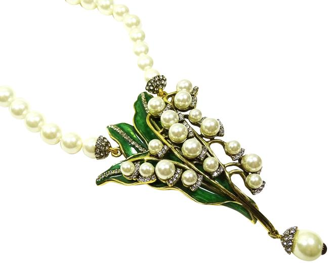 """Item - Multicolor """"Lily Of The Valley"""" White Faux Pearls Beaded Crystal Drop Necklace"""