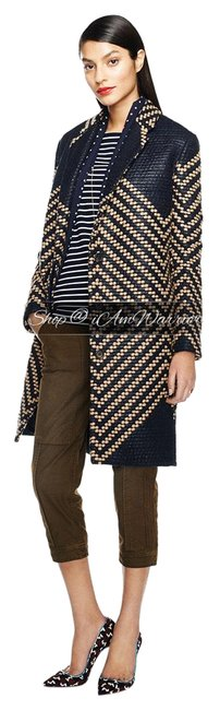 Item - Navy Tan Collection French Tweed Geometric Coat Size 6 (S)
