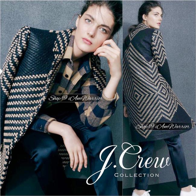 J.Crew Navy Tan Collection French Tweed Geometric Coat Size 6 (S) J.Crew Navy Tan Collection French Tweed Geometric Coat Size 6 (S) Image 3