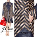 J.Crew Navy Tan Collection French Tweed Geometric Coat Size 6 (S) J.Crew Navy Tan Collection French Tweed Geometric Coat Size 6 (S) Image 5