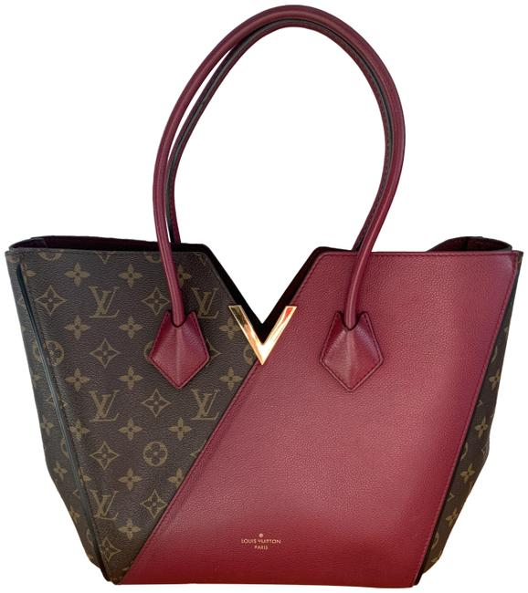 Item - Kimono Two Tones Brown/Plum Lv Monogram Canvas and Dark Red Cowhide Leather Tote