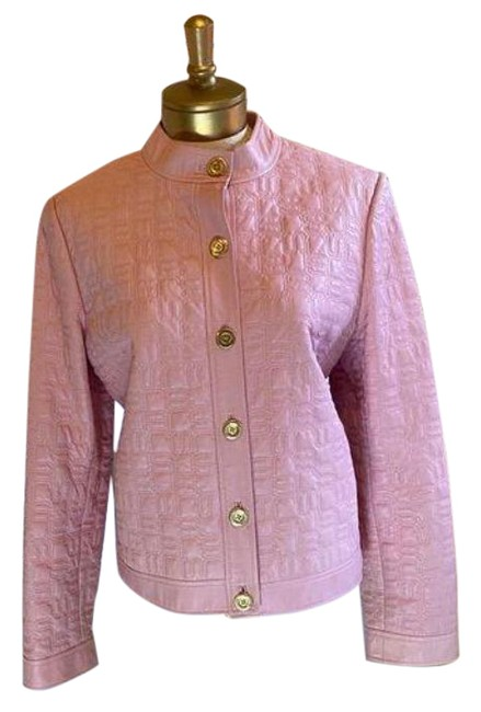 Item - Light Pink Logo Quilted Leather Jacket Size 12 (L)