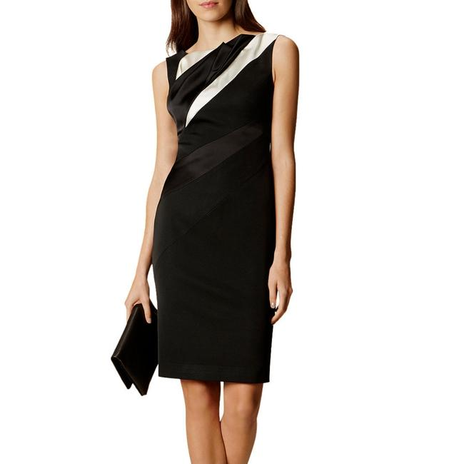 Item - Black & White Diagonal Seam Pencil Mid-length Formal Dress Size 00 (XXS)