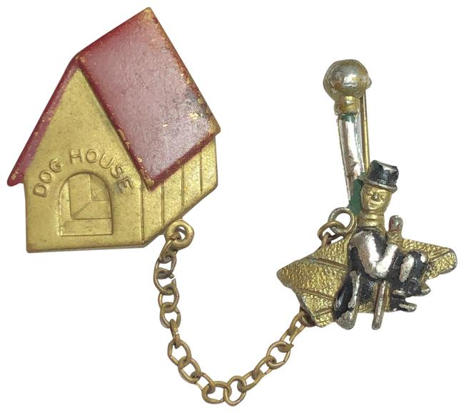 Item - Gold Man In Dog House Chatelaine Brooch Pin