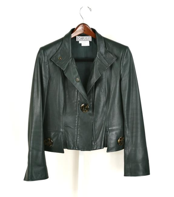Item - Green Leather Tortoise Shell Button Jacket Size 8 (M)