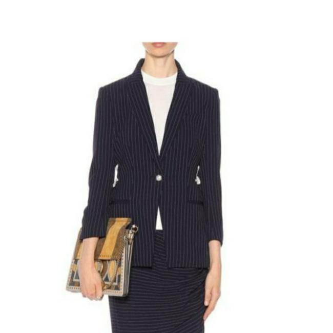 Item - Navy W Pinstriped Blazer W/Lace-up Detail Pant Suit Size 12 (L)