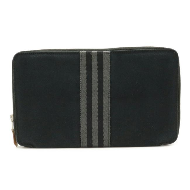 Item - Black / Gray Fool To Perth Gm Round Zipper Zip Canvas Wallet
