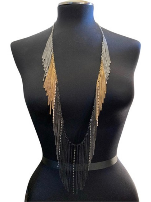 Item - Gold Black Silver Bcbg Chain Fringe Toned Body Chain Necklace