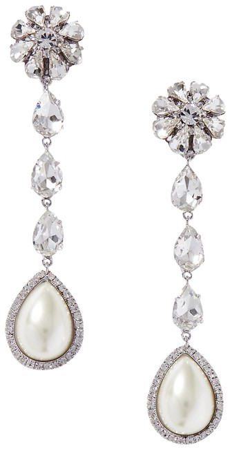 Item - Silver Silver-tone Crystal and Faux Pearl Clip Earrings