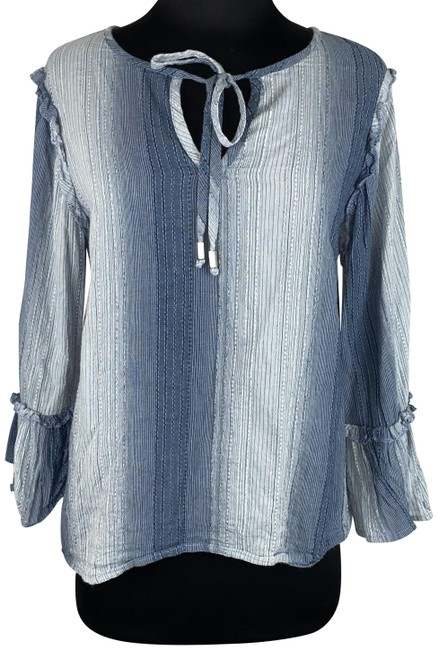 Item - Blue -cupio-blush- S Tie Front Ruffle Accented Cotton Boho Casual Blouse Size 6 (S)